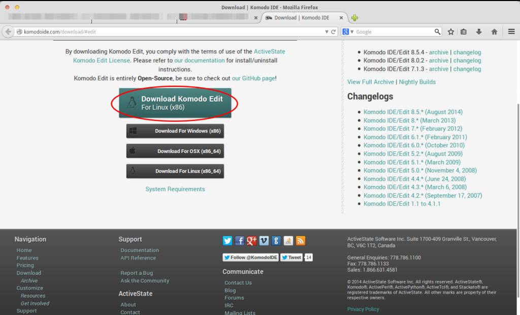 Instalando Komodo Edit paso 1