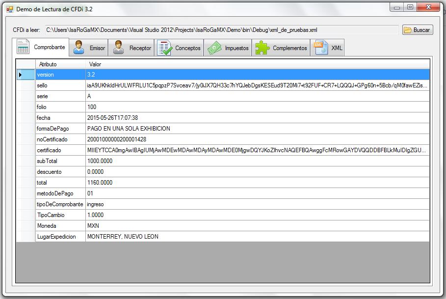 Leer XML de CFDI