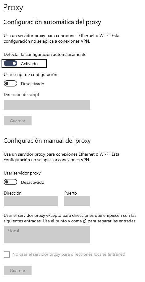 Configuración Automatica de Proxy en Windows