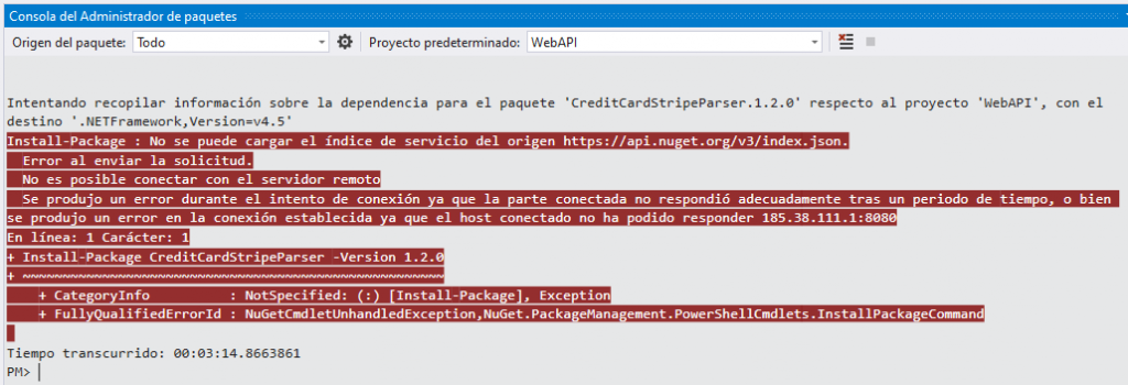 Error de conexión en NuGet Package Manager