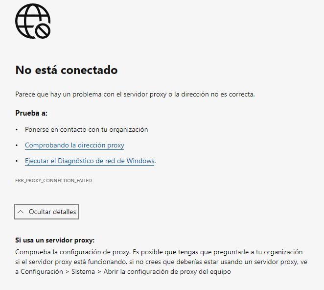 Error ERR_PROXY_CONNECTION_FAILED