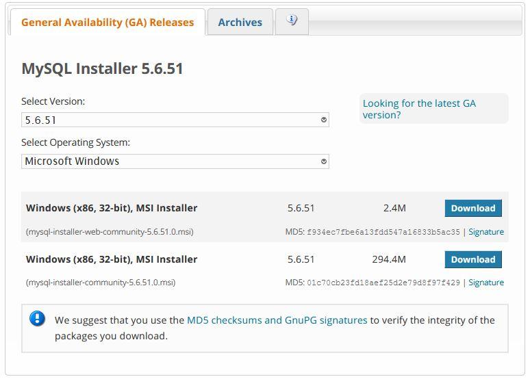 Instalador de MySQL
